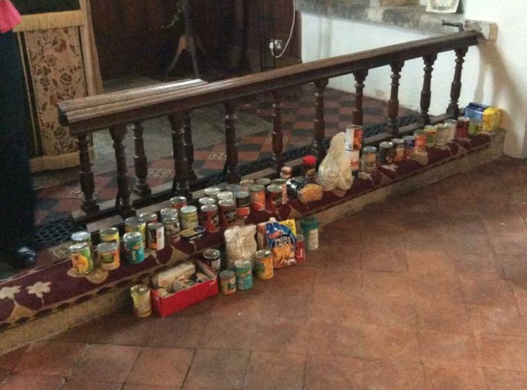 Families donated tins and packets of food.