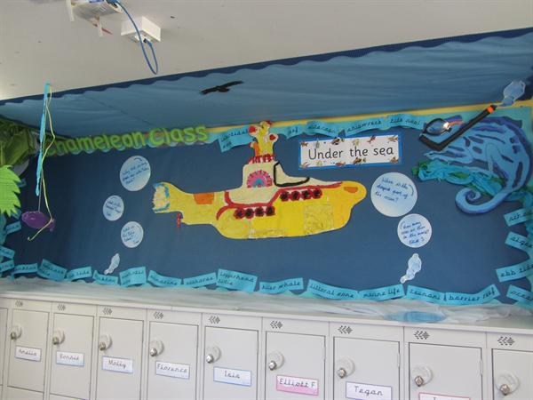 Oceans topic board with Chameleon's new lockers