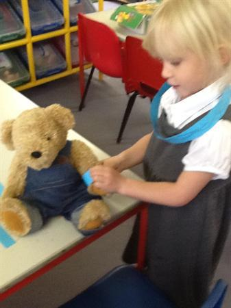 Benjamin bear was given a friendship bracelet!