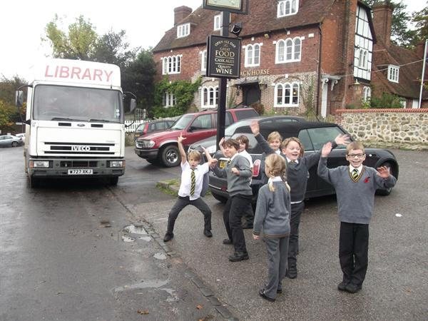 Very excited about the arrival of the library bus!