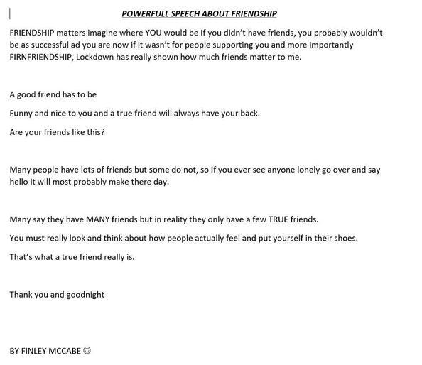 Finley's throughful speech on friendship