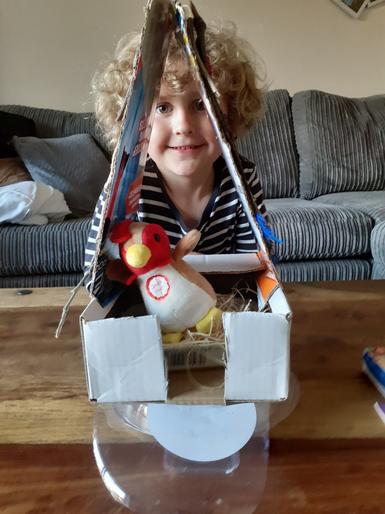Rex made a super chicken house!