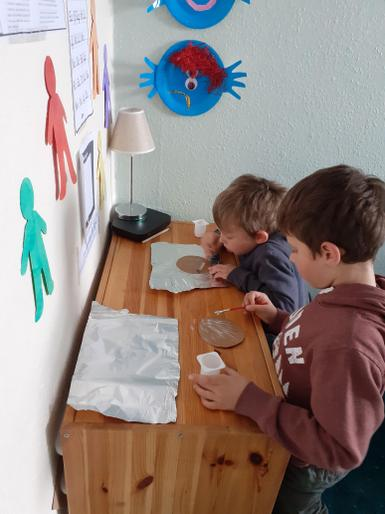 Beau's VE Day medal making with his brother, Milo