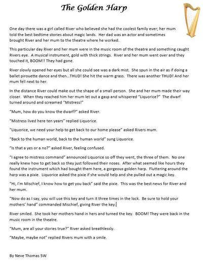 Neve's story of 'The Golden Harp'!