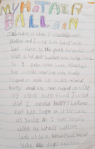 Heather wrote a brilliant hot air balloon story!