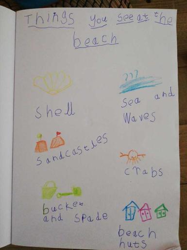 Noah's super beach checklist!