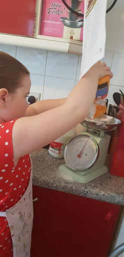 Heather using her maths skills to help her bake!