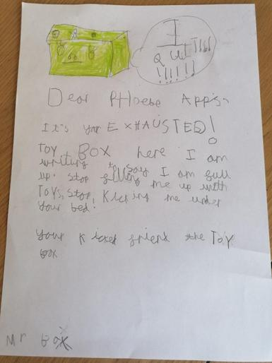 Phoebe's super letter from her quitting toy box!
