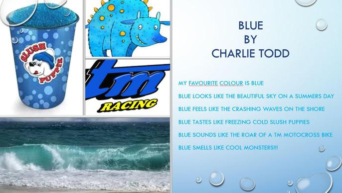 Charlie's colour poem about the colour blue
