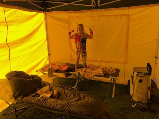 Emily's camping trip in her back garden!