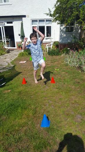 Dylan enjoying his Virtual Sports Day
