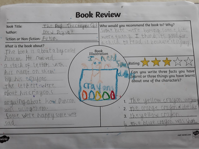 Albie's book review for The Day The Crayons Quit