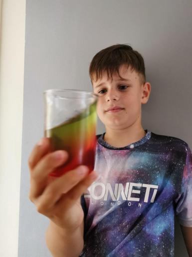 Oskar enjoying his jelly experiment