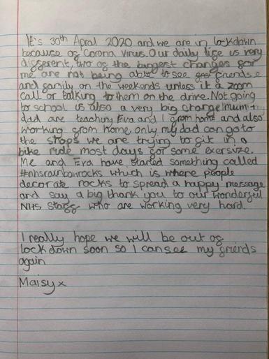 Maisy's brilliant diary extract