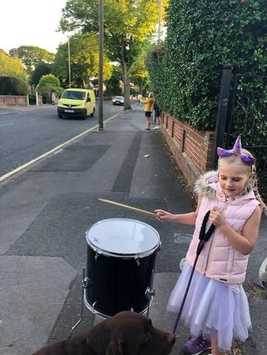 Emily drumming for carers!