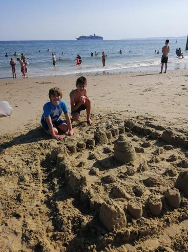 Leo and Janus having fun at the beach