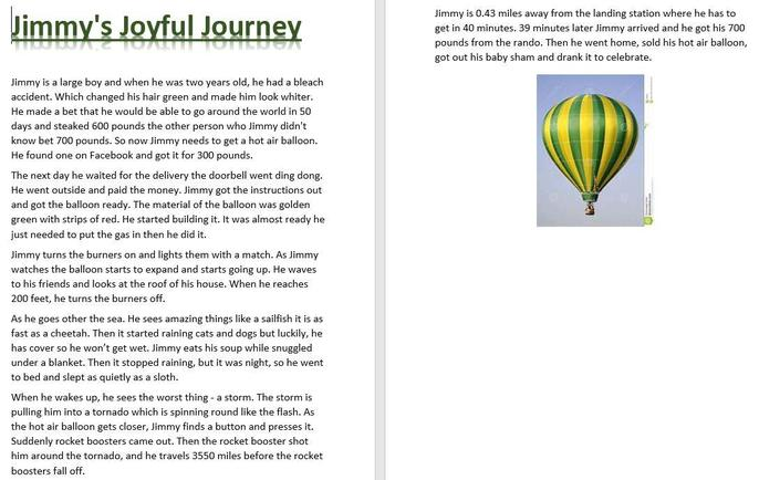 Alfie's hot air balloon story