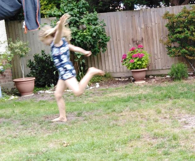 Edith's just landed her long jump!