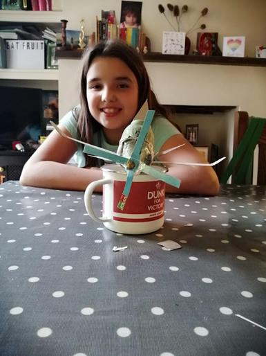 Connie's plane made from toilet rolls!