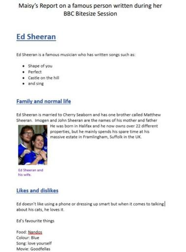Maisy's report on Ed Sheeran
