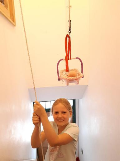 Neve investigating pulleys!