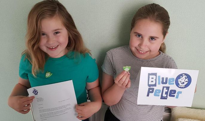 Emily with her green BLUE PETER BADGE