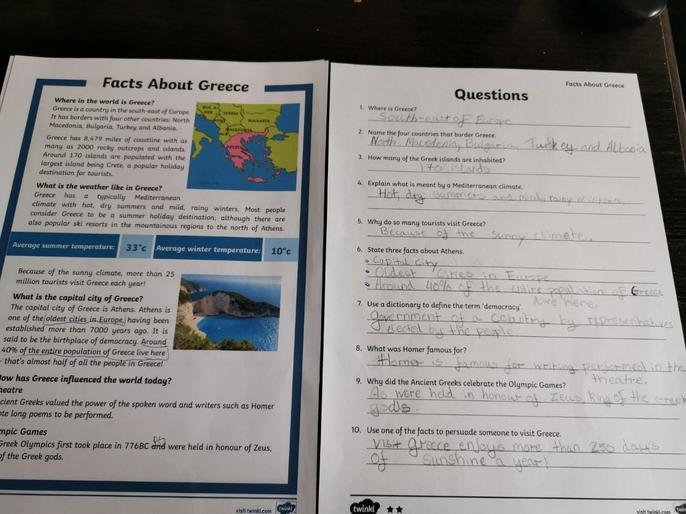 Oskar's learning about Greece
