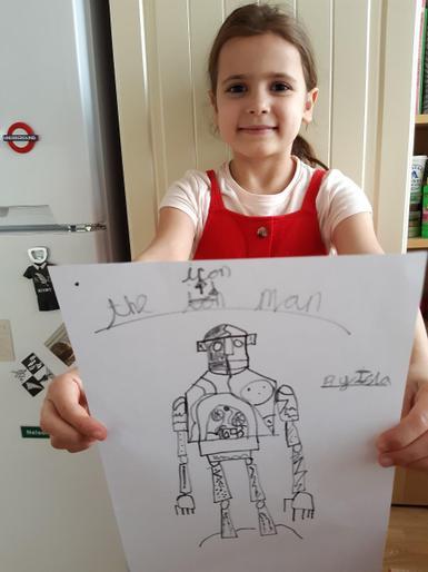 Isla's superb Iron Man drawing!