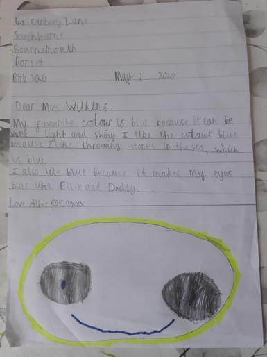 Albie's letter to Miss Wilkins
