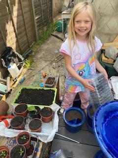 Evie the gardener is growing vegetables!