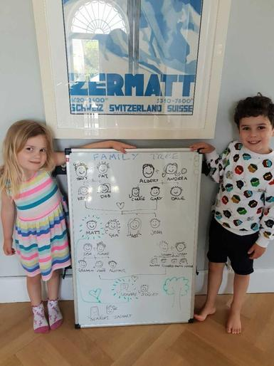 Scarlet and Zachary exploring their family tree!