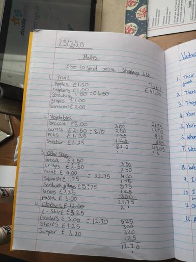 Summer's shopping list - Brilliant maths!