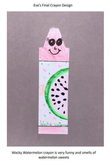 Eva's 'Wacky Watermelon' crayon design!