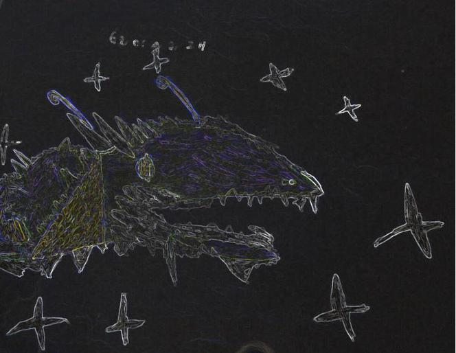 George's Space-Bat-Angel-Dragon at night!