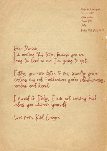 Ata's super letter from Red Crayon!