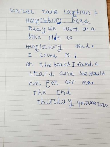 Scarlet's story about her trip to Hengistbury Head