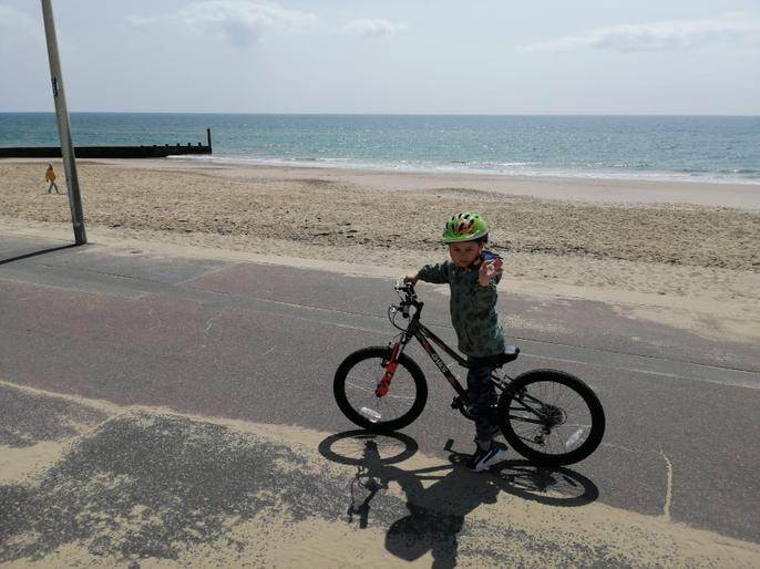 Tomas having lots of fun on his bike