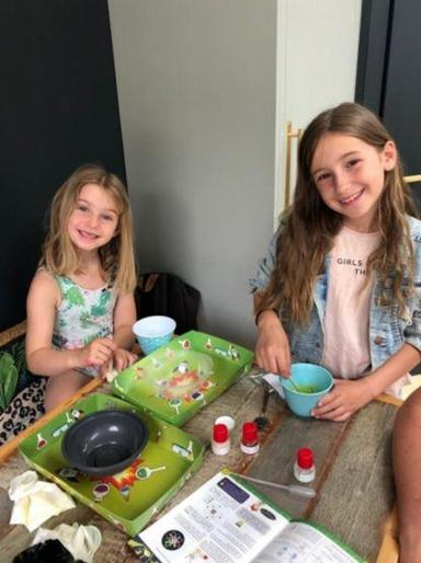 Eva making slime with Maisy