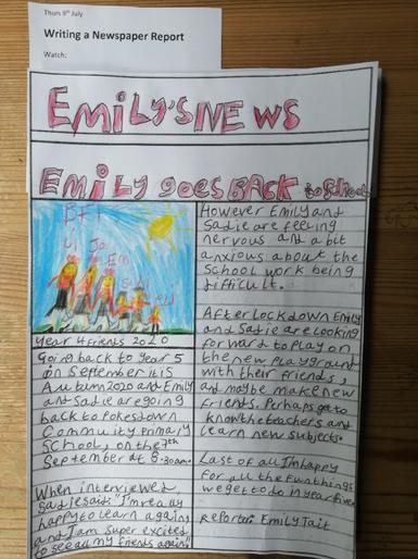 Emily's newspaper report!