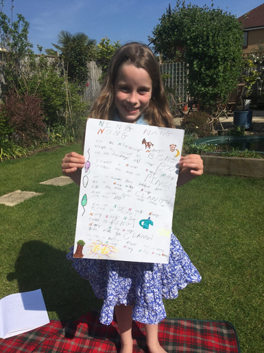Isabelle with her favourite poem!