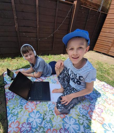 Joris learning outside!