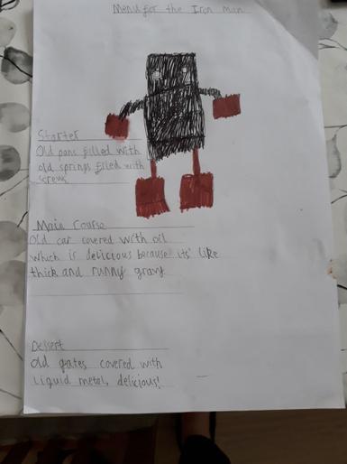 Albie's menu for Iron Man - Yummy!
