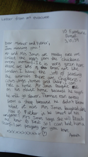 Amara's letter in role as an evacuee
