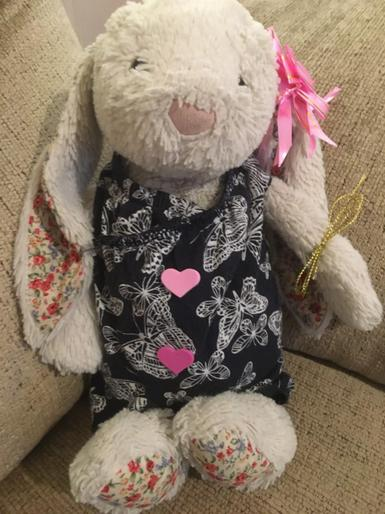 Josi's lovely homemade dress for her bunny!