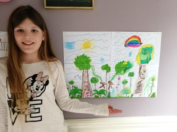 Smiley Emily with her drawing!