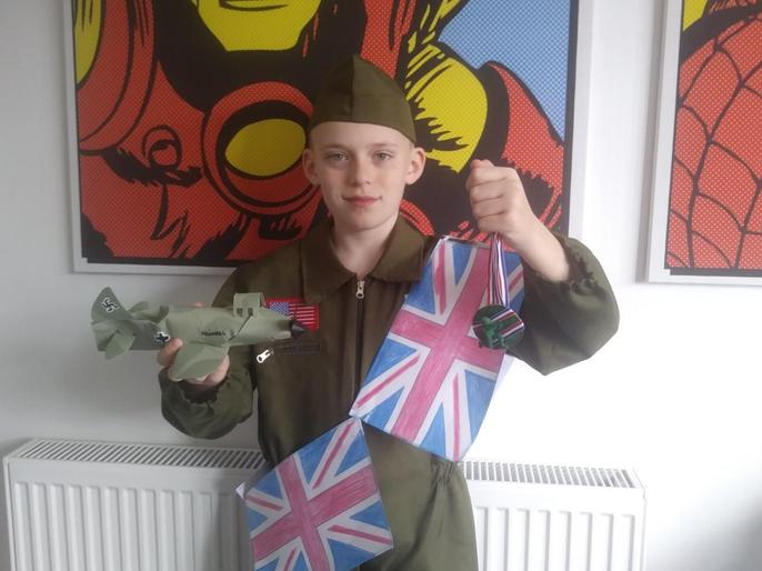 Myles celebrating VE day - look at his plane!