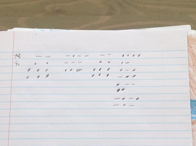 Finnley G's morse code message for Miss Hardwicke