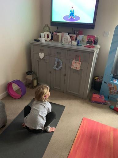 Molly doing yoga!