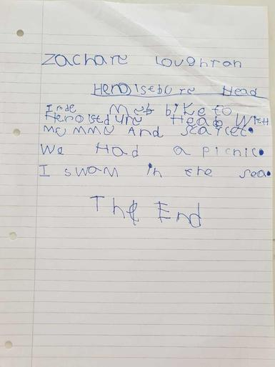 """Zachary's writing about his day out"""""""