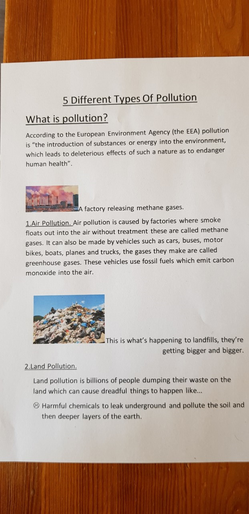 Samuel's information on pollution
